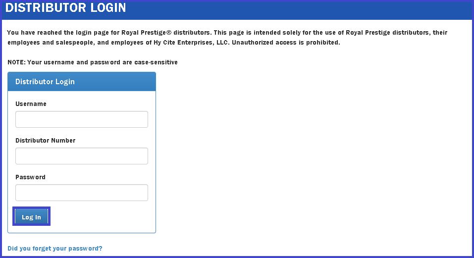 reset royal prestige distributor login password