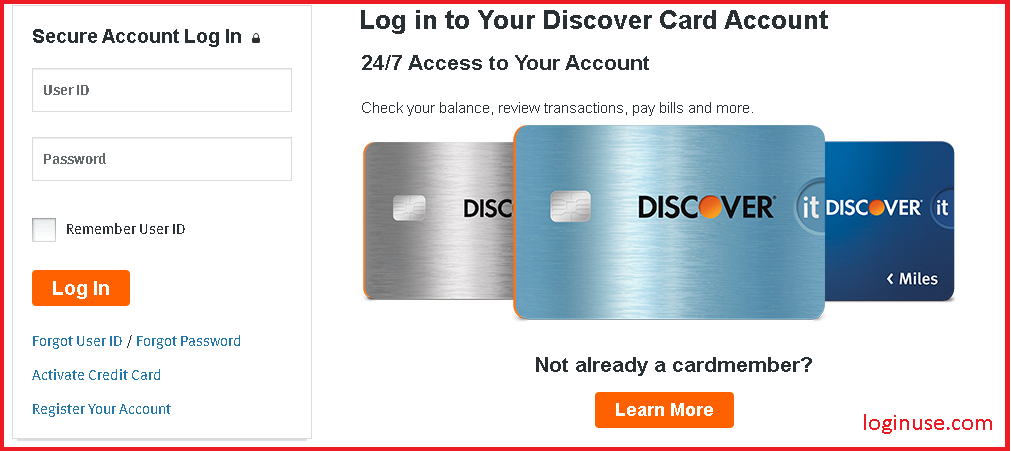 discover student credit card login
