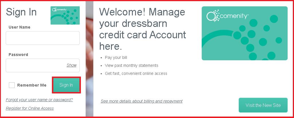 dressbarn credit card sign in