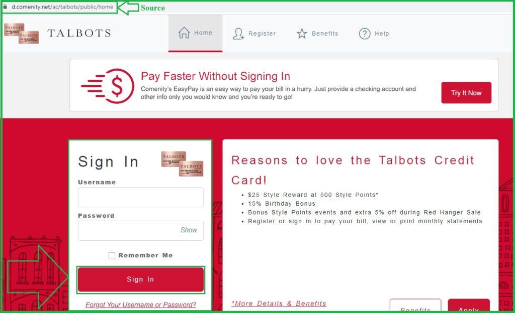 Talbots Credit Card login Process, Payment, and Password Reset